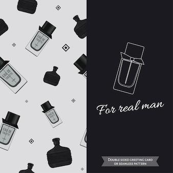 남자 원활한 패턴 양면 현대 인사말 카드