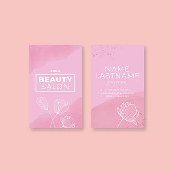 Double-sided vertical beauty salon business card template
