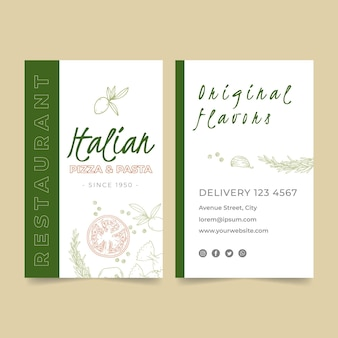 Double-sided vertical business card for italian food restaurant
