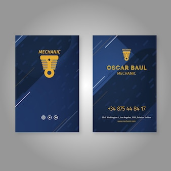 Double-sided vertical business card mechanic