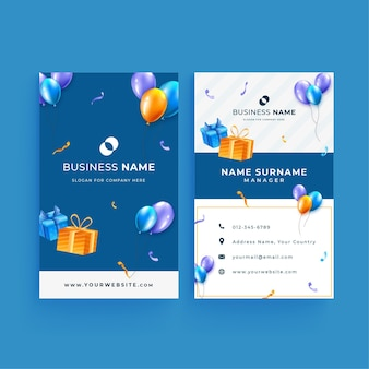 Double-sided vertical  business card template for birthday celebration