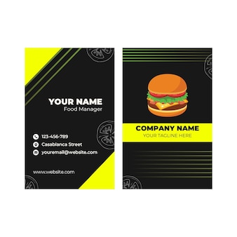 Double-sided vertical business card template for burger restaurant