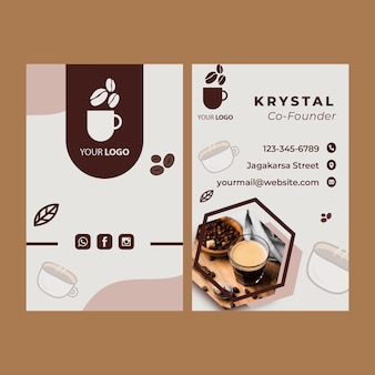 Double-sided vertical business card template for coffee shop