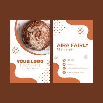 Double-sided vertical business card template for pastry shop