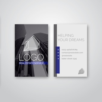 Double-sided vertical business card template