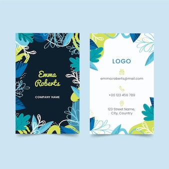 Double-sided vertical business card with leaves
