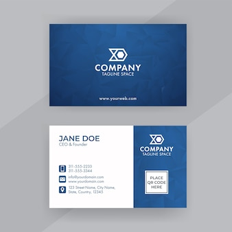 파란색과 흰색 색상의 다각형 패턴이있는 양면 명함 디자인