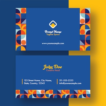Double-sides of business card template design with abstract pattern.