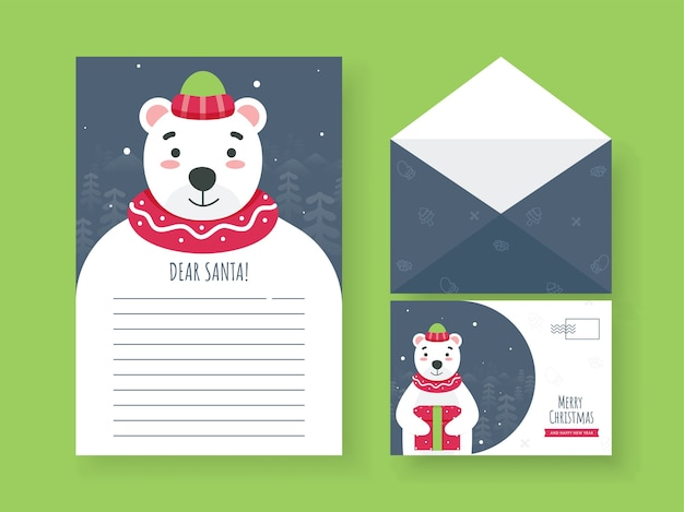 친애하는 산타 클로스를위한 빈 인사말 카드 또는 편지 템플릿 레이아웃이있는 양면 봉투