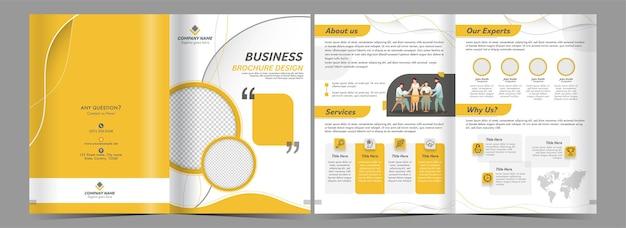 노란색과 흰색 색상의 비즈니스 이중 접기 브로셔 디자인의 양면.