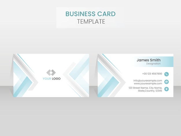 Двойные стороны макета шаблона визитной карточки в синем и белом