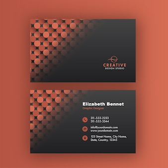 Double sides presentation of business card design with circle pattern