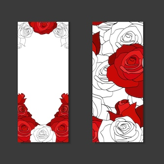 Double sides vertical blanks with roses and place for text