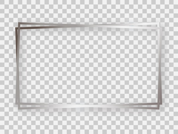 Double silver shiny 16x9 rectangular frame with glowing effects and shadows on transparent background. vector illustration