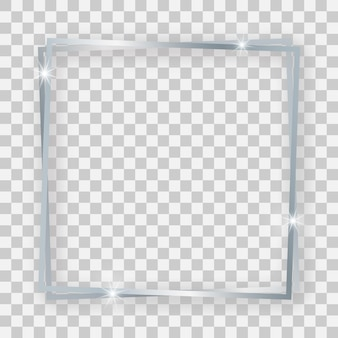 Двойная серебряная блестящая квадратная рамка со светящимися эффектами и тенями на прозрачном фоне. векторная иллюстрация