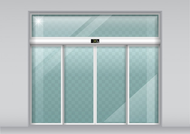 Double sliding glass doors with automatic sensor
