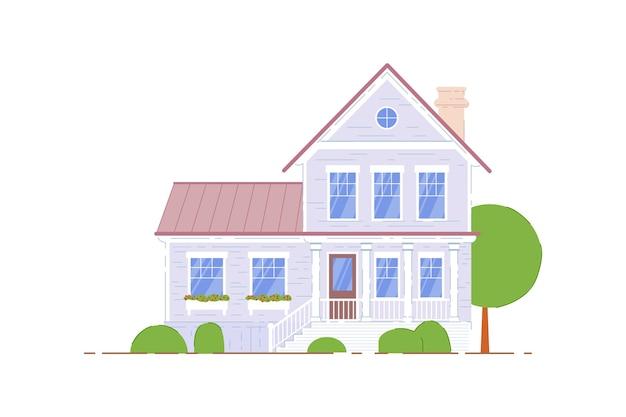 二階建ての家。白い背景の上の住宅の家。家族の2階建ての家のアイコン。郊外の建築図