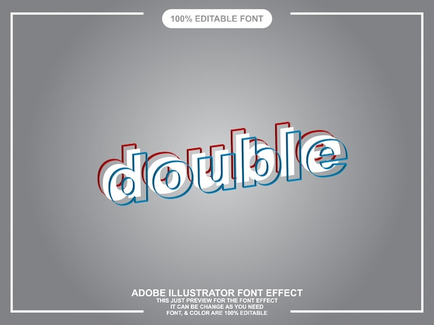 Double text graphic style illustrator editable typography