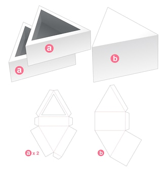 Double triangular tray with cover die cut template