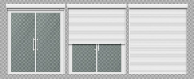 Double window with roller shutter up and close