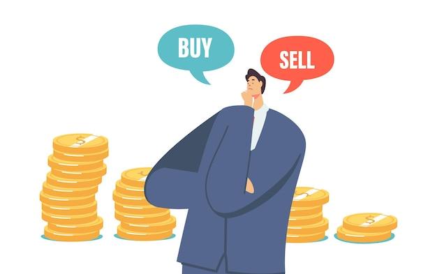 의심스러운 사업가 캐릭터는 위기 동안 돈을 사고 팔고 주식 시장 하락 판매, 돈 개념에 대한 현명한 금융 솔루션을 찾는 상인. 만화 벡터 일러스트 레이 션
