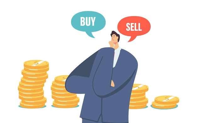 Doubtful businessman character thinking buy or sell money during crisis and bear stock market drop sales, trader searching wise financial solution for money concept. cartoon vector illustration