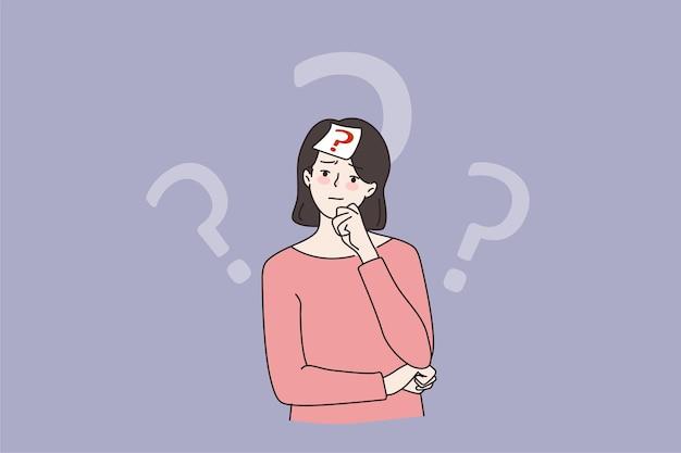 Сомневающаяся женщина принимает решение думать о решении проблемы