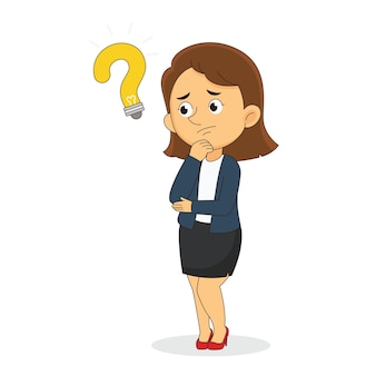 Doubting business women or office woman