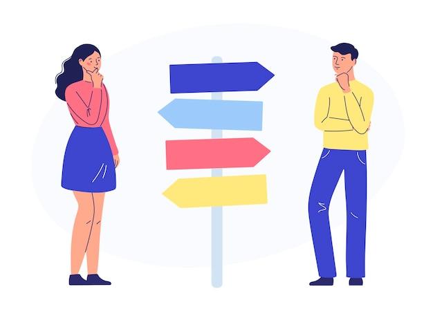 Сомневающиеся лидеры думают, решают вопрос выбора, выбора пути учебы и работы, направления в будущее. концепция самореализации, образования и карьерного успеха.