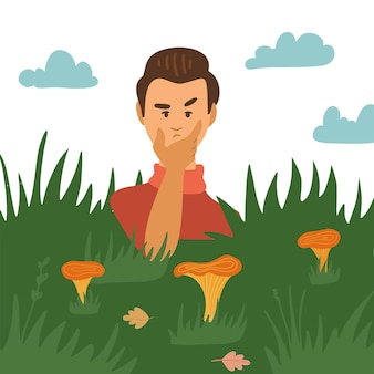 잔디 버섯 캐릭터의 버섯을 보고 있는 의심스러운 남자는 가을 시즌에 야외에서 시간을 보냅니다...