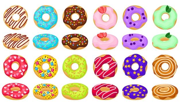 ドーナツ漫画は、アイコンのイラストを設定します。白い背景の上のドーナツの分離コレクションイラスト漫画。チョコレートドーナツのアイコンを設定します。