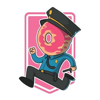 도넛 경찰 실행 그림입니다. 경찰, 보안, 권위, 달콤한 디자인 컨셉
