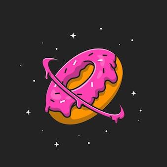 Пончик планета. плоский мультяшном стиле