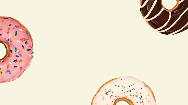 Doughnuts patterned on beige background