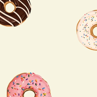 ベージュの背景ベクトルでパターン化されたドーナツ