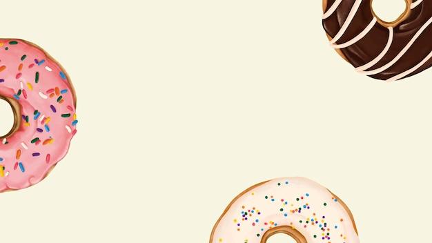 ベージュの背景にパターン化されたドーナツ 無料ベクター