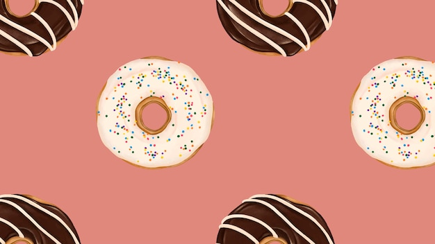 ピンクの背景ベクトルにパターン化されたドーナツ