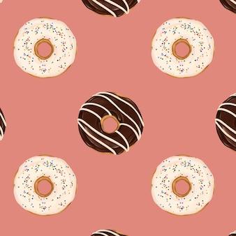 분홍색 배경에 꽃 무늬 도넛