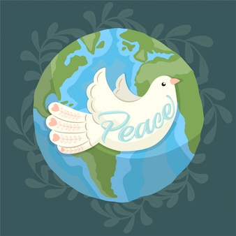 A dove as symbol of peace flying around the earth