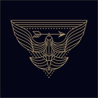 Tシャツとロゴのための鳥の抽象的なイラストイラストラインアート