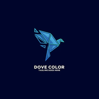 Dove color  illustration  logo.