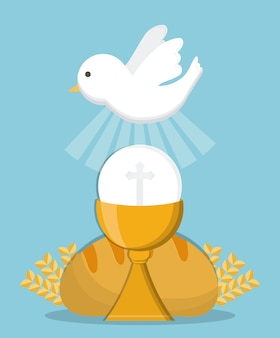 Dove cup bread gold religion icon