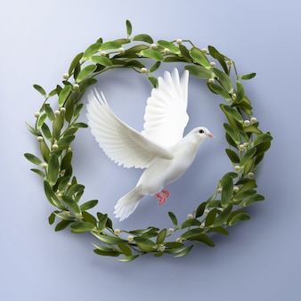 Dove flying inside wreath. concept life and peace symbol on blue background