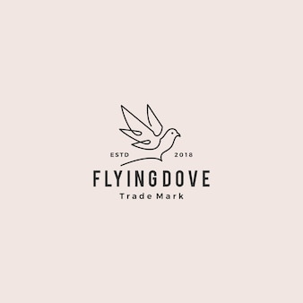 Dove logo vector vintage hipster retro icon line outline