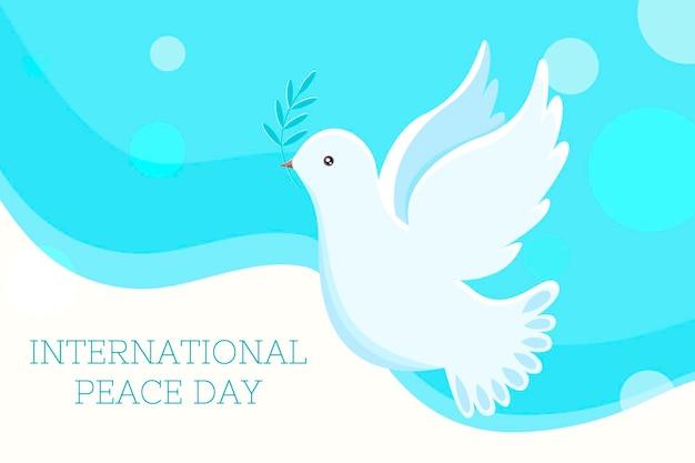 녹색 올리브 나뭇가지와 함께 비행 하는 평화의 비둘기 국제 평화의 날 평면 벡터 배너
