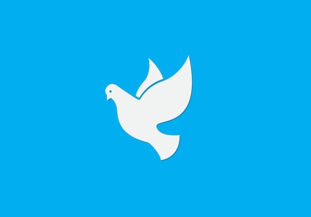 青い背景の上の平和の鳩ベクトル図