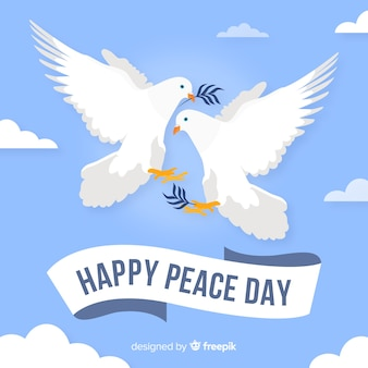 Dove peace day background flat design