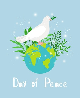 Dove of peace. religious symbol of hope with olive branch, white pigeon image for christmas or wedding, vector illustration of bird over planet