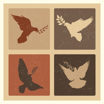 Dove of peace silhouette emblems