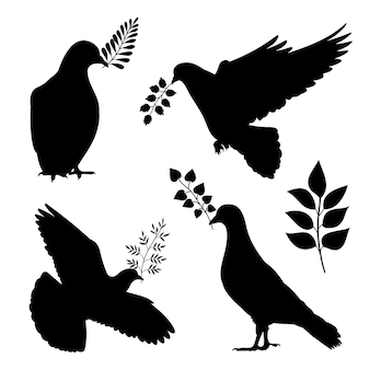 Dove of peace vector silhouetes. pigeon with branch isolated